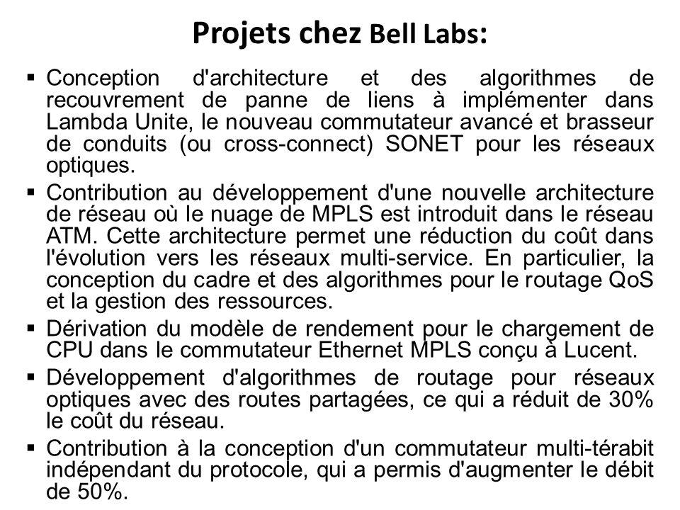 Projets chez Bell Labs : Conception d architecture et des algorithmes de recouvrement de panne de liens à implémenter dans Lambda Unite, le nouveau commutateur avancé et brasseur de conduits (ou cross-connect) SONET pour les réseaux optiques.