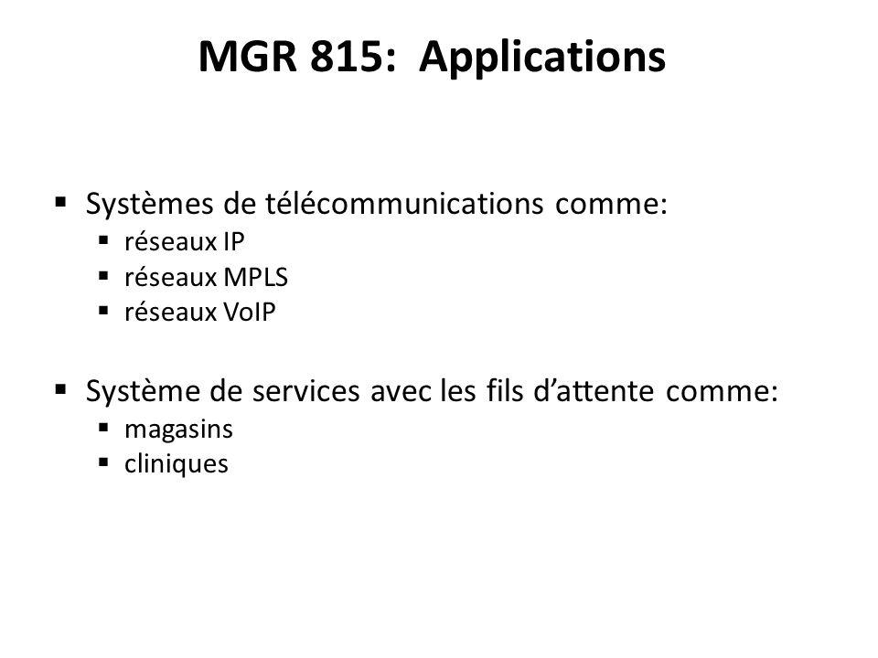 MGR 815: Applications Systèmes de télécommunications comme: réseaux IP réseaux MPLS réseaux VoIP Système de services avec les fils dattente comme: magasins cliniques