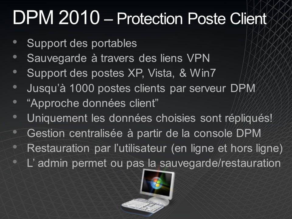 DPM 2010 – Protection Poste Client Support des portables Sauvegarde à travers des liens VPN Support des postes XP, Vista, & Win7 Jusquà 1000 postes clients par serveur DPM Approche données client Uniquement les données choisies sont répliqués.