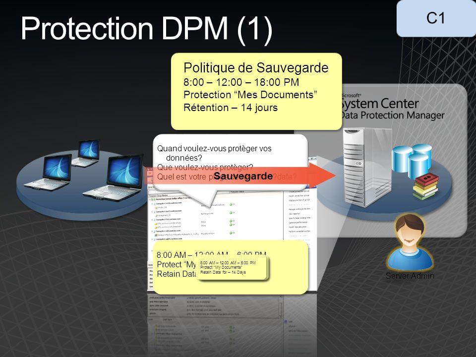 Protection DPM (1) 8:00 AM – 12:00 AM – 6:00 PM Protect My Documents Retain Data for – 14 Days Quand voulez-vous protèger vos données.