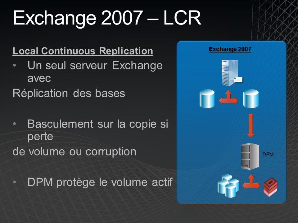 Exchange 2007 – LCR Local Continuous Replication Un seul serveur Exchange avec Réplication des bases Basculement sur la copie si perte de volume ou corruption DPM protège le volume actif Exchange 2007 DPM