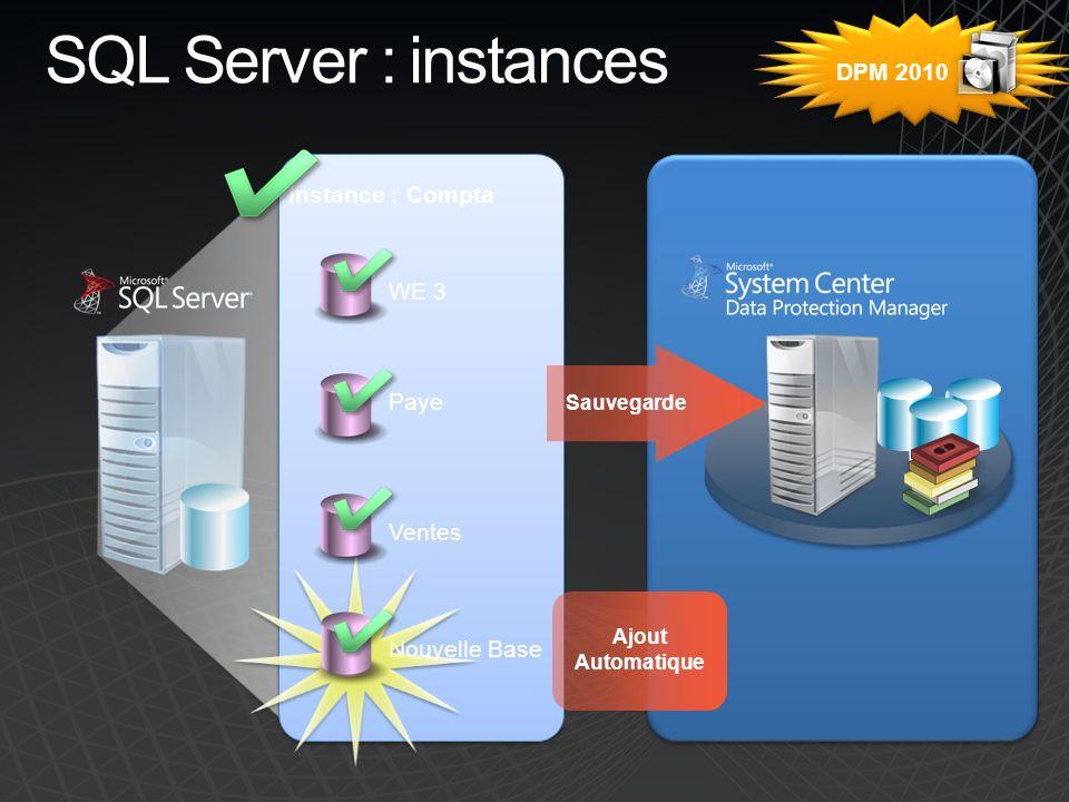 SQL Server : instances Ajout Automatique Sauvegarde WE 3 Paye Ventes Nouvelle Base Instance : Compta DPM 2010