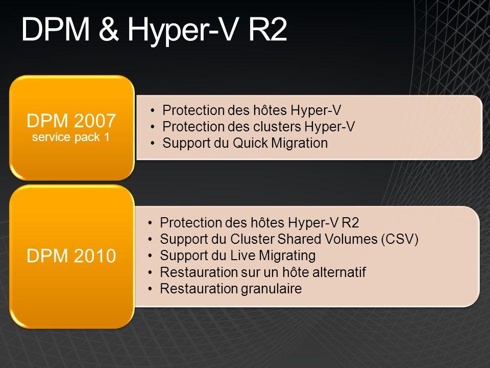 DPM & Hyper-V R2 Protection des hôtes Hyper-V Protection des clusters Hyper-V Support du Quick Migration DPM 2007 service pack 1 Protection des hôtes Hyper-V R2 Support du Cluster Shared Volumes (CSV) Support du Live Migrating Restauration sur un hôte alternatif Restauration granulaire DPM 2010