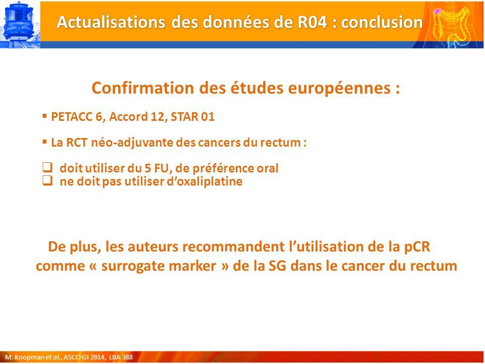 Confirmation des études européennes : PETACC 6, Accord 12, STAR 01 La RCT néo-adjuvante des cancers du rectum : doit utiliser du 5 FU, de préférence oral ne doit pas utiliser doxaliplatine M.