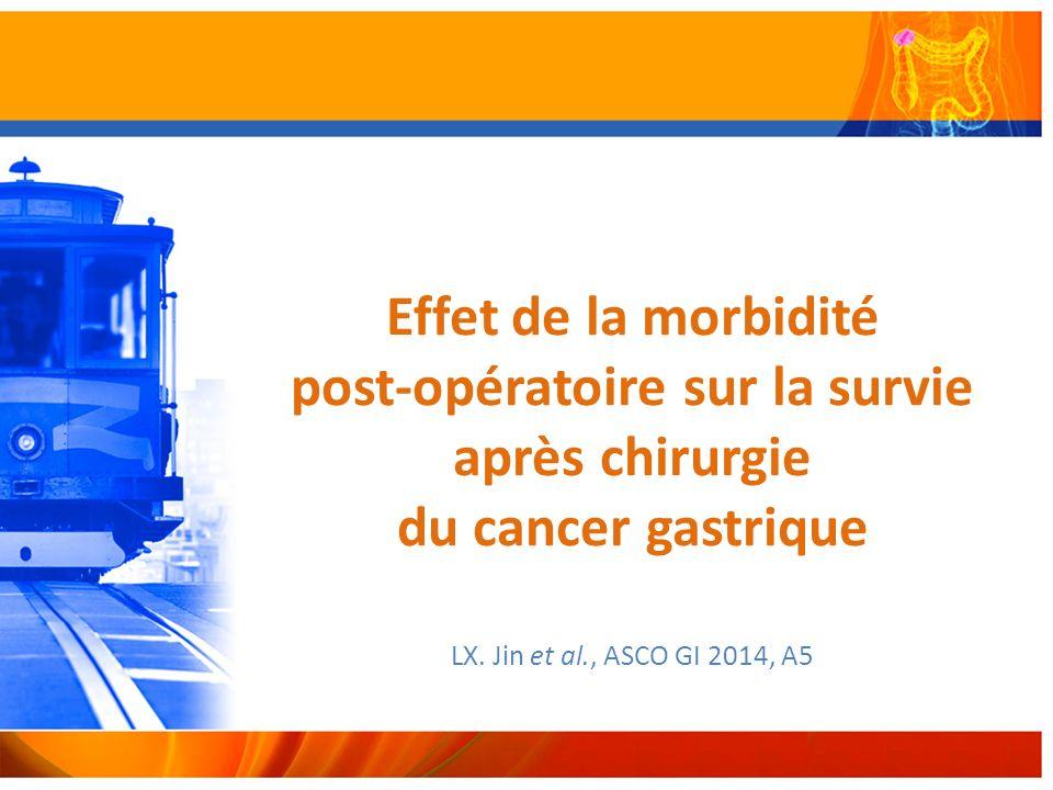Effet de la morbidité post-opératoire sur la survie après chirurgie du cancer gastrique LX.