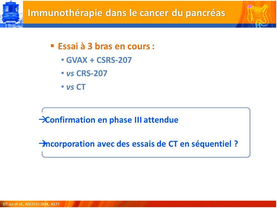 Immunothérapie dans le cancer du pancréas Essai à 3 bras en cours : GVAX + CSRS-207 vs CRS-207 vs CT Confirmation en phase III attendue Incorporation avec des essais de CT en séquentiel .