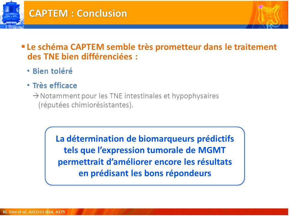 CAPTEM : Conclusion Le schéma CAPTEM semble très prometteur dans le traitement des TNE bien différenciées : Bien toléré Très efficace Notamment pour les TNE intestinales et hypophysaires (réputées chimiorésistantes).