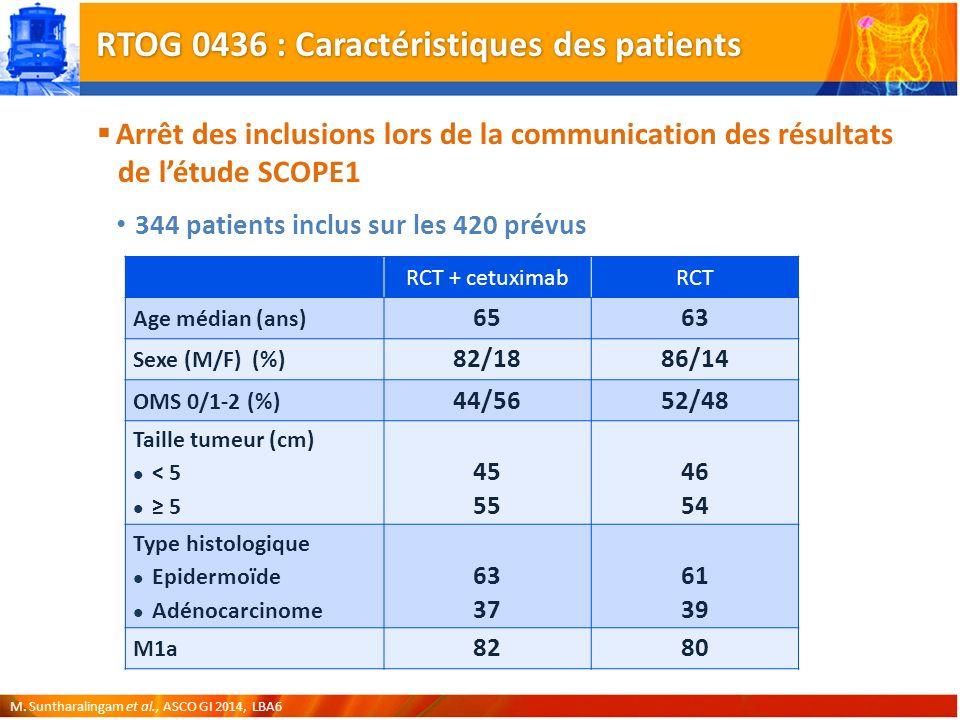 RTOG 0436 : Caractéristiques des patients Arrêt des inclusions lors de la communication des résultats de létude SCOPE1 344 patients inclus sur les 420 prévus M.