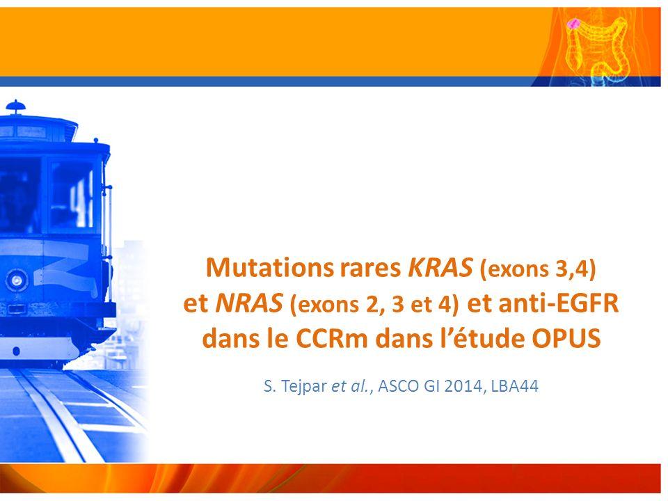 Mutations rares KRAS (exons 3,4) et NRAS (exons 2, 3 et 4) et anti-EGFR dans le CCRm dans létude OPUS S.