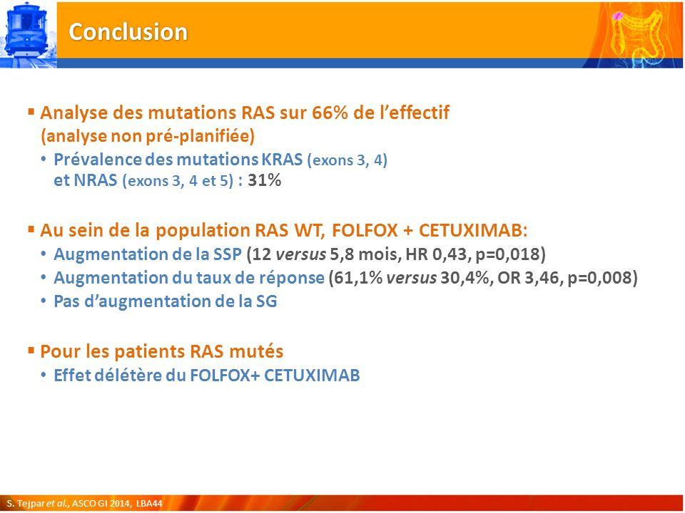 Conclusion Analyse des mutations RAS sur 66% de leffectif (analyse non pré-planifiée) Prévalence des mutations KRAS (exons 3, 4) et NRAS (exons 3, 4 et 5) : 31% Au sein de la population RAS WT, FOLFOX + CETUXIMAB: Augmentation de la SSP (12 versus 5,8 mois, HR 0,43, p=0,018) Augmentation du taux de réponse (61,1% versus 30,4%, OR 3,46, p=0,008) Pas daugmentation de la SG Pour les patients RAS mutés Effet délétère du FOLFOX+ CETUXIMAB S.