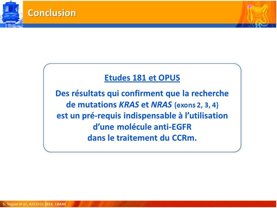 Conclusion Etudes 181 et OPUS Des résultats qui confirment que la recherche de mutations KRAS et NRAS (exons 2, 3, 4) est un pré-requis indispensable à lutilisation dune molécule anti-EGFR dans le traitement du CCRm.