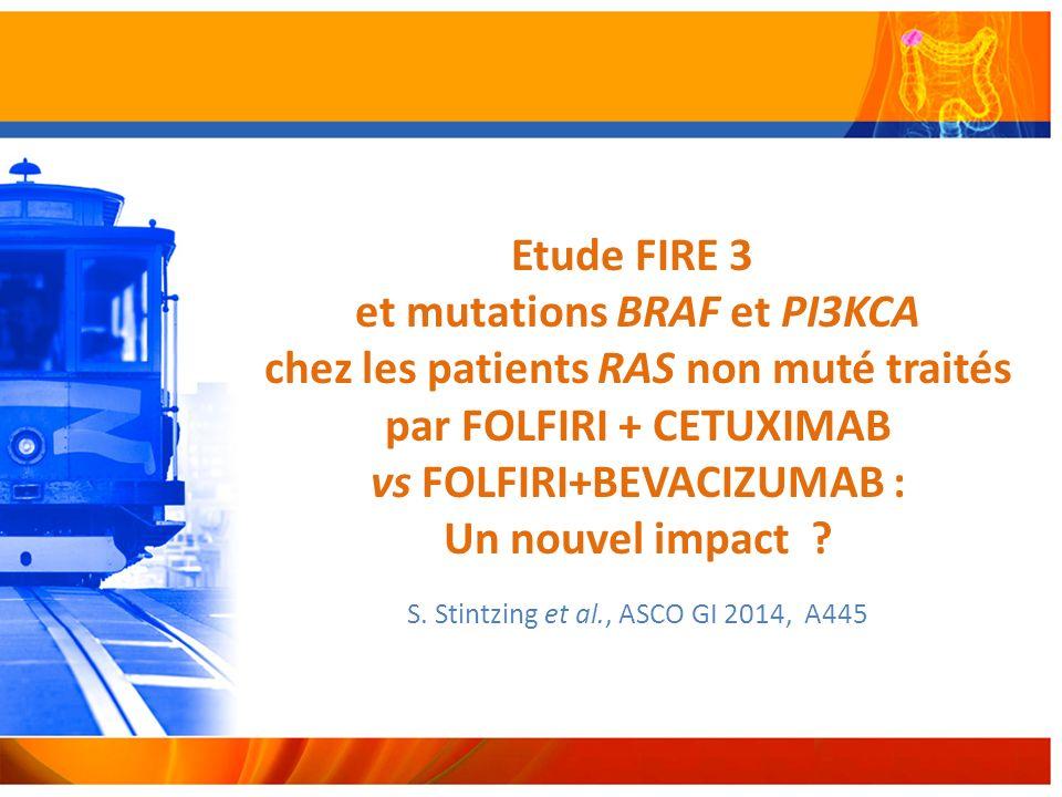 Etude FIRE 3 et mutations BRAF et PI3KCA chez les patients RAS non muté traités par FOLFIRI + CETUXIMAB vs FOLFIRI+BEVACIZUMAB : Un nouvel impact .