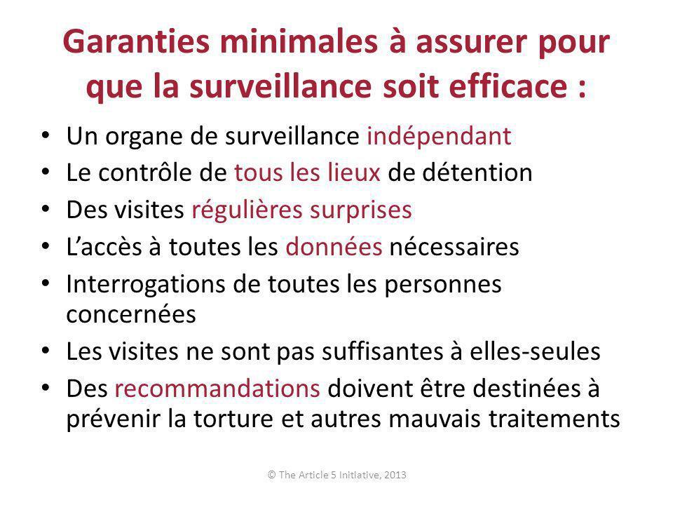 Garanties minimales à assurer pour que la surveillance soit efficace : Un organe de surveillance indépendant Le contrôle de tous les lieux de détentio
