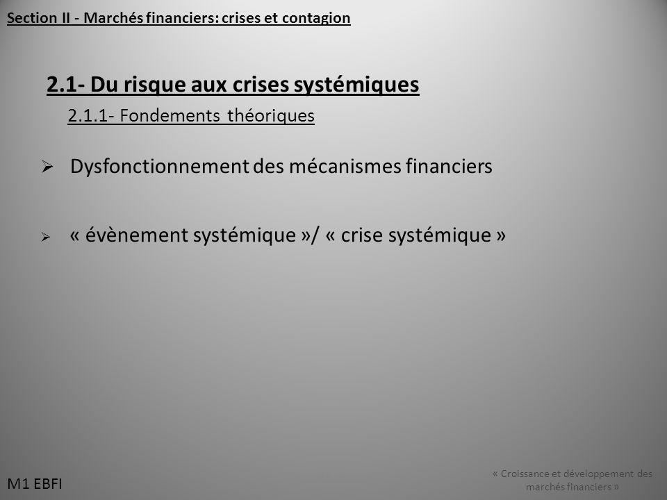 Section II - Marchés financiers: crises et contagion 2.1- Du risque aux crises systémiques 2.1.1- Fondements théoriques Dysfonctionnement des mécanismes financiers « évènement systémique »/ « crise systémique » M1 EBFI « Croissance et développement des marchés financiers » M1 EBFI