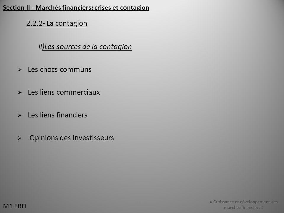 Section II - Marchés financiers: crises et contagion 2.2.2- La contagion ii)Les sources de la contagion Les chocs communs Les liens commerciaux Les liens financiers Opinions des investisseurs M1 EBFI « Croissance et développement des marchés financiers » M1 EBFI