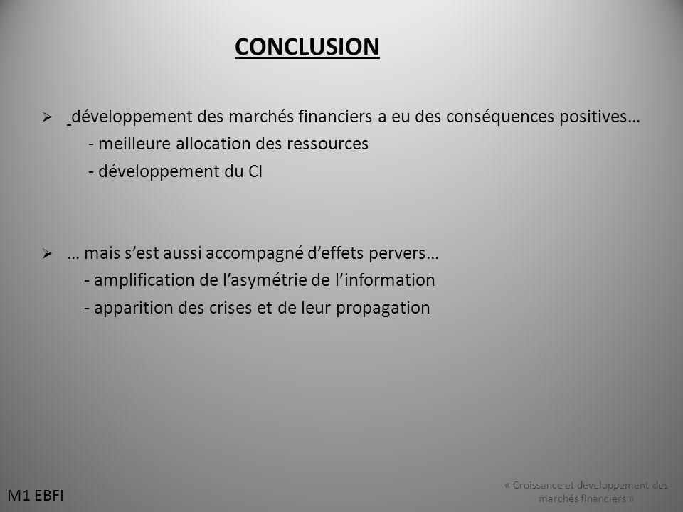 CONCLUSION développement des marchés financiers a eu des conséquences positives… - meilleure allocation des ressources - développement du CI … mais se