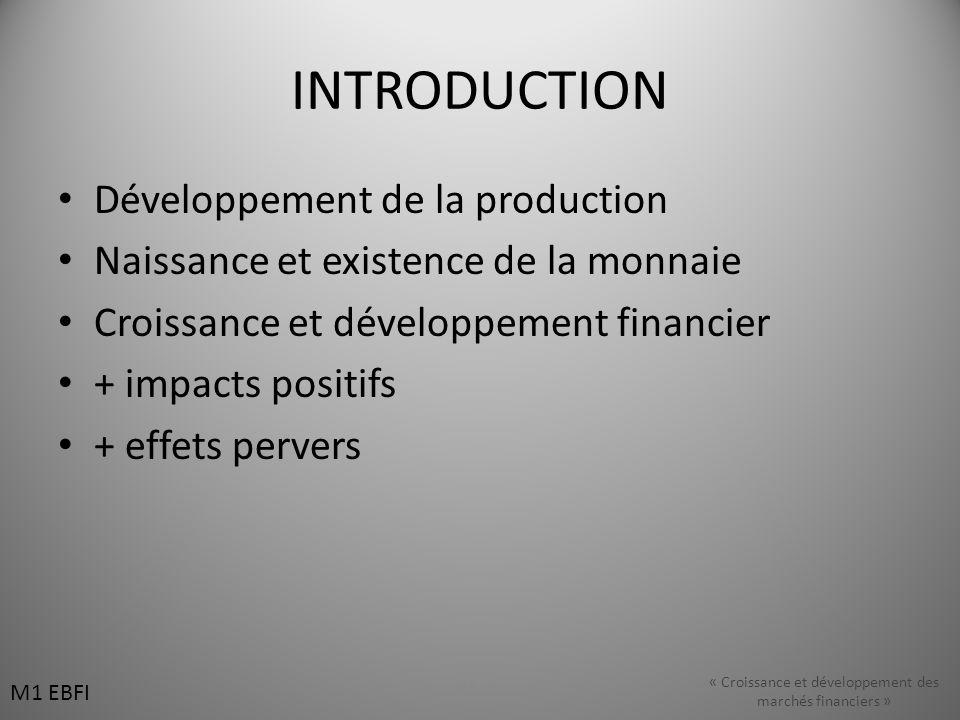 INTRODUCTION Développement de la production Naissance et existence de la monnaie Croissance et développement financier + impacts positifs + effets pervers M1 EBFI « Croissance et développement des marchés financiers »