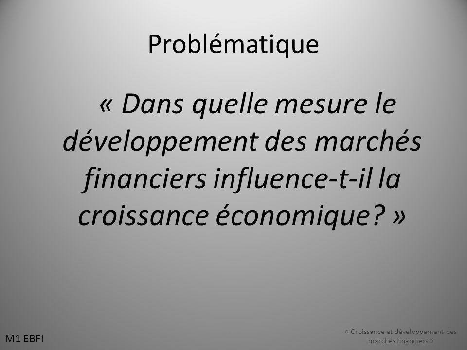 Problématique « Dans quelle mesure le développement des marchés financiers influence-t-il la croissance économique? » M1 EBFI « Croissance et développ