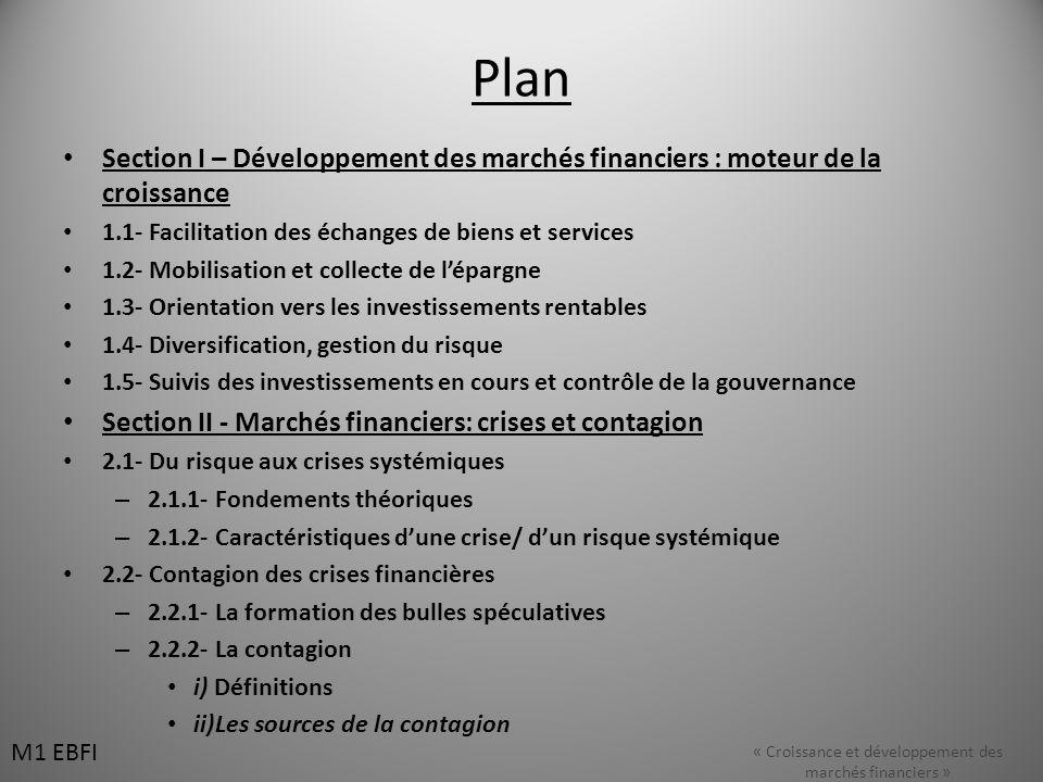 Plan Section I – Développement des marchés financiers : moteur de la croissance 1.1- Facilitation des échanges de biens et services 1.2- Mobilisation et collecte de lépargne 1.3- Orientation vers les investissements rentables 1.4- Diversification, gestion du risque 1.5- Suivis des investissements en cours et contrôle de la gouvernance Section II - Marchés financiers: crises et contagion 2.1- Du risque aux crises systémiques – 2.1.1- Fondements théoriques – 2.1.2- Caractéristiques dune crise/ dun risque systémique 2.2- Contagion des crises financières – 2.2.1- La formation des bulles spéculatives – 2.2.2- La contagion i) Définitions ii)Les sources de la contagion « Croissance et développement des marchés financiers » M1 EBFI