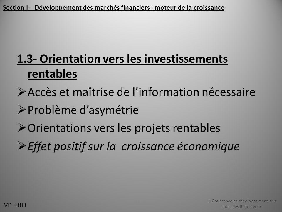1.3- Orientation vers les investissements rentables Accès et maîtrise de linformation nécessaire Problème dasymétrie Orientations vers les projets ren