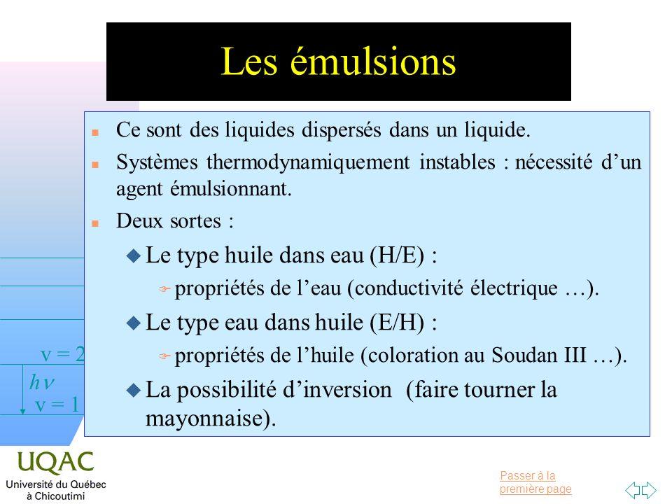 Passer à la première page v = 0 v = 1 v = 2 h Les émulsions n Ce sont des liquides dispersés dans un liquide.