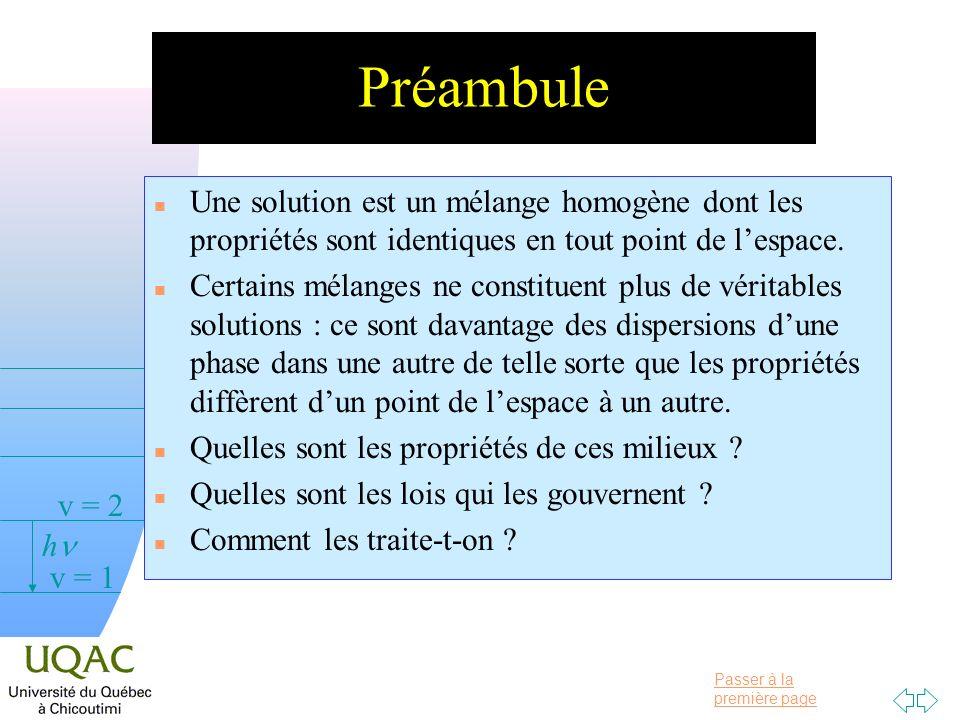 Passer à la première page v = 0 v = 1 v = 2 h Préambule n Une solution est un mélange homogène dont les propriétés sont identiques en tout point de lespace.