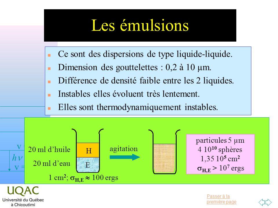 Passer à la première page v = 0 v = 1 v = 2 h Les émulsions n Ce sont des dispersions de type liquide-liquide.