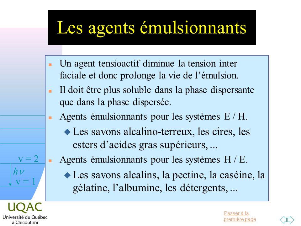 Passer à la première page v = 0 v = 1 v = 2 h Les agents émulsionnants n Un agent tensioactif diminue la tension inter faciale et donc prolonge la vie de lémulsion.