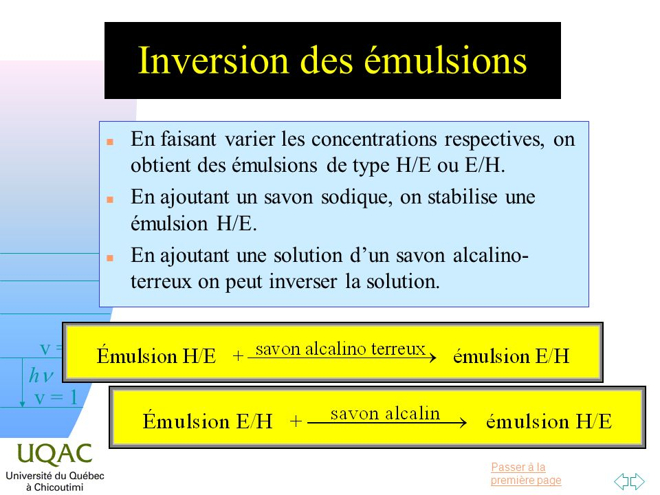 Passer à la première page v = 0 v = 1 v = 2 h Inversion des émulsions n En faisant varier les concentrations respectives, on obtient des émulsions de type H/E ou E/H.
