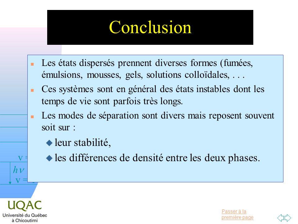 Passer à la première page v = 0 v = 1 v = 2 h n Les états dispersés prennent diverses formes (fumées, émulsions, mousses, gels, solutions colloïdales,...
