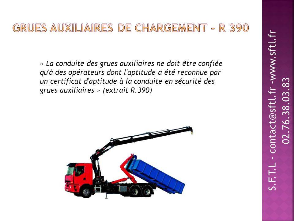 S.F.T.L - contact@sftl.fr -www.sftl.fr 02.76.38.03.83 « La conduite des grues auxiliaires ne doit être confiée qu'à des opérateurs dont l'aptitude a é