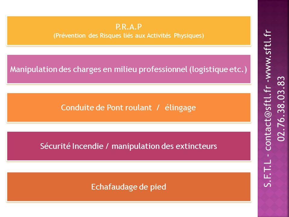 P.R.A.P (Prévention des Risques liés aux Activités Physiques) Manipulation des charges en milieu professionnel (logistique etc.) Conduite de Pont roul