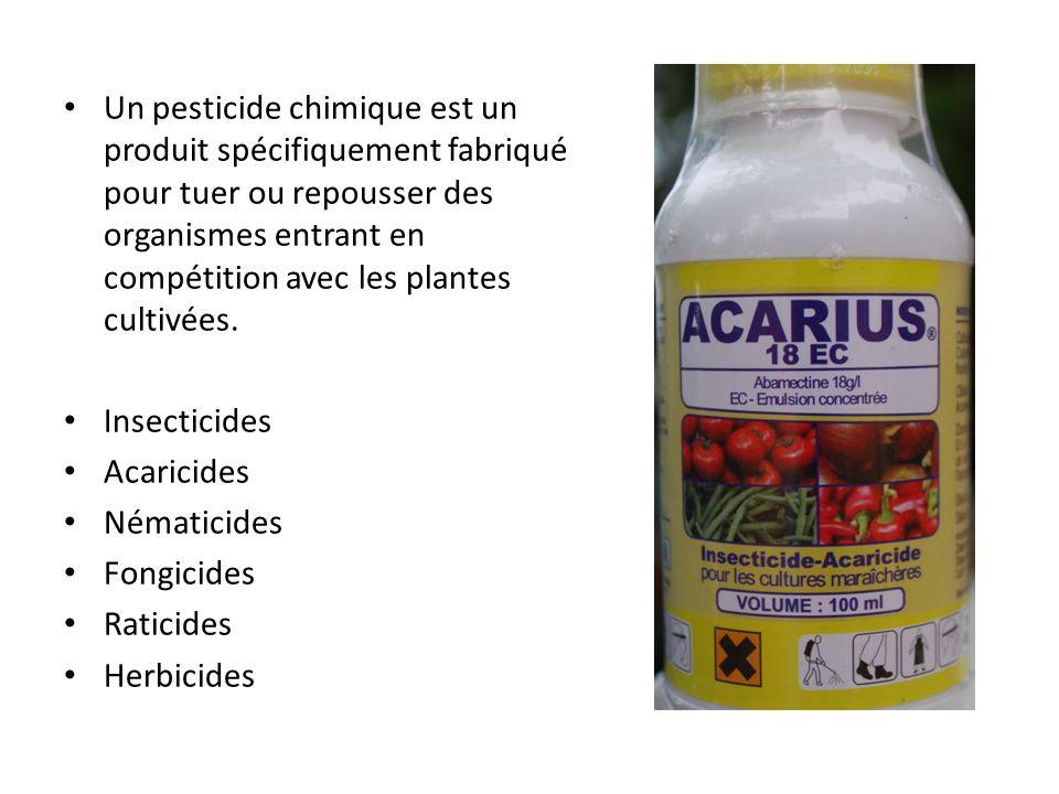 Un pesticide chimique est un produit spécifiquement fabriqué pour tuer ou repousser des organismes entrant en compétition avec les plantes cultivées.