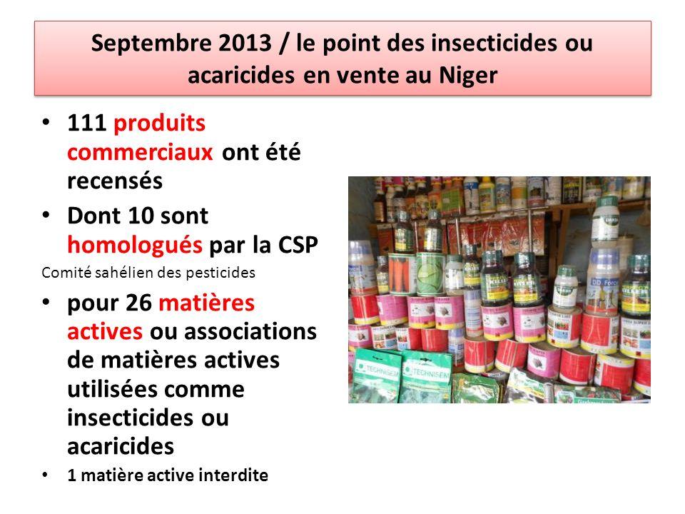 Septembre 2013 / le point des insecticides ou acaricides en vente au Niger 111 produits commerciaux ont été recensés Dont 10 sont homologués par la CSP Comité sahélien des pesticides pour 26 matières actives ou associations de matières actives utilisées comme insecticides ou acaricides 1 matière active interdite