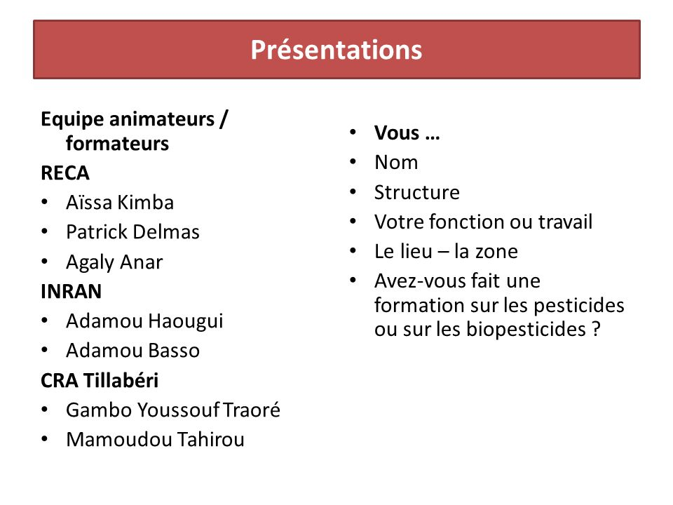 Présentations Equipe animateurs / formateurs RECA Aïssa Kimba Patrick Delmas Agaly Anar INRAN Adamou Haougui Adamou Basso CRA Tillabéri Gambo Youssouf