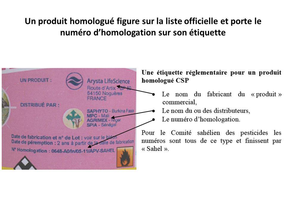 Un produit homologué figure sur la liste officielle et porte le numéro dhomologation sur son étiquette