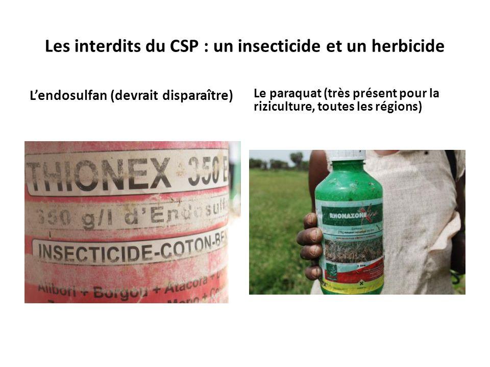 Les interdits du CSP : un insecticide et un herbicide Lendosulfan (devrait disparaître) Le paraquat (très présent pour la riziculture, toutes les régions)