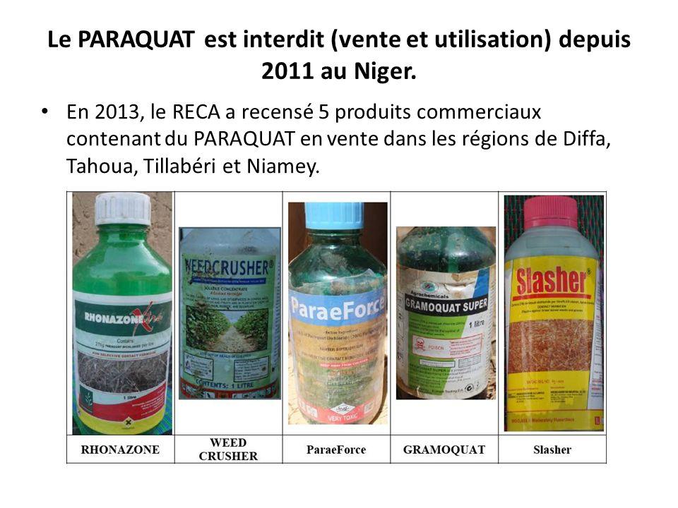 Le PARAQUAT est interdit (vente et utilisation) depuis 2011 au Niger. En 2013, le RECA a recensé 5 produits commerciaux contenant du PARAQUAT en vente
