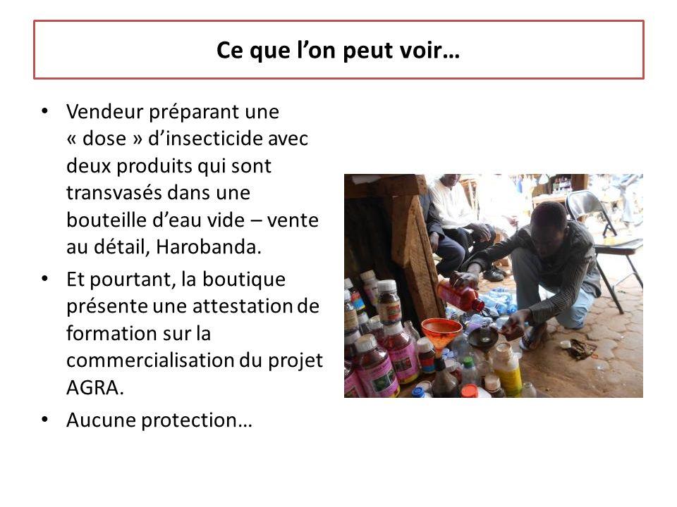 Ce que lon peut voir… Vendeur préparant une « dose » dinsecticide avec deux produits qui sont transvasés dans une bouteille deau vide – vente au détail, Harobanda.