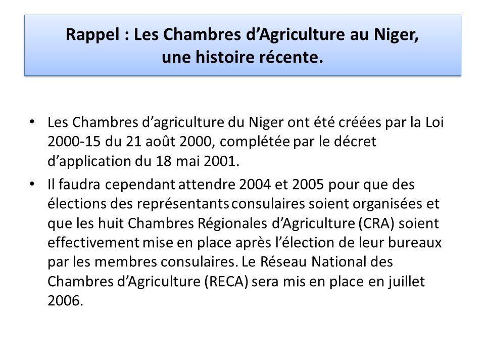 Rappel : Les Chambres dAgriculture au Niger, une histoire récente. Les Chambres dagriculture du Niger ont été créées par la Loi 2000-15 du 21 août 200