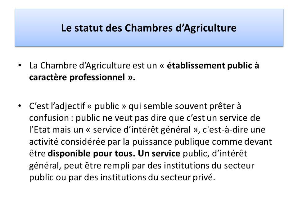 Le statut des Chambres dAgriculture La Chambre dAgriculture est un « établissement public à caractère professionnel ». Cest ladjectif « public » qui s