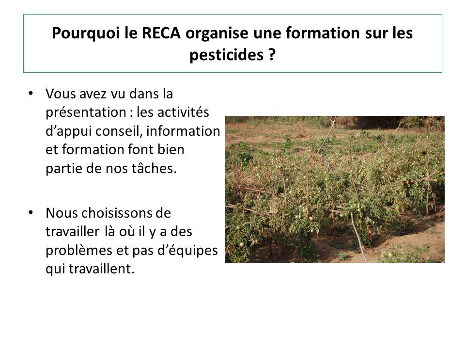 Pourquoi le RECA organise une formation sur les pesticides ? Vous avez vu dans la présentation : les activités dappui conseil, information et formatio