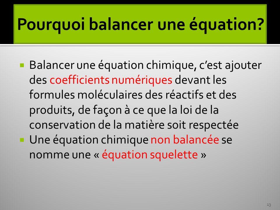 Balancer une équation chimique, cest ajouter des coefficients numériques devant les formules moléculaires des réactifs et des produits, de façon à ce