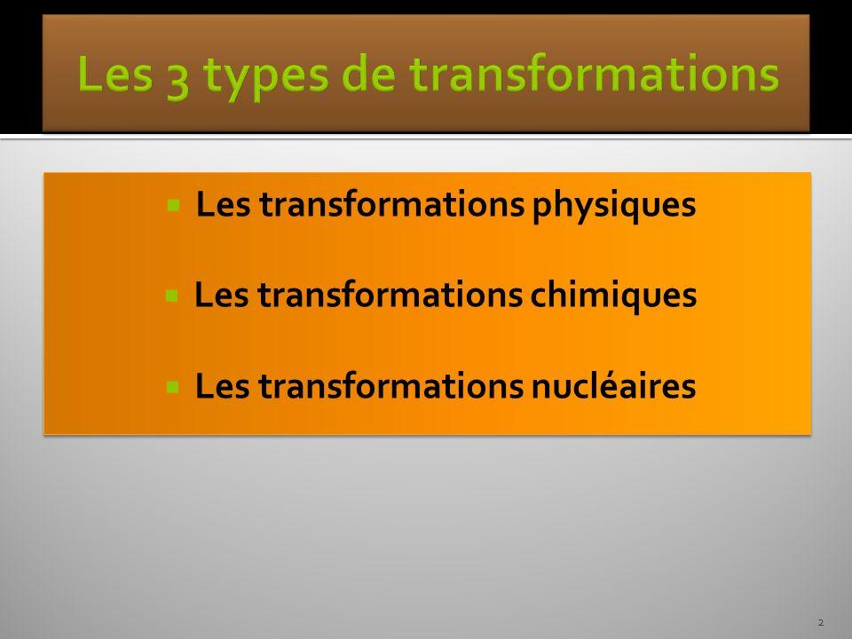 Les transformations physiques Les transformations chimiques Les transformations nucléaires Les transformations physiques Les transformations chimiques