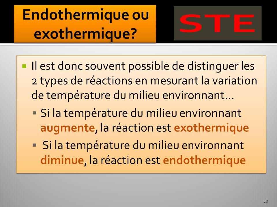Il est donc souvent possible de distinguer les 2 types de réactions en mesurant la variation de température du milieu environnant… Si la température d