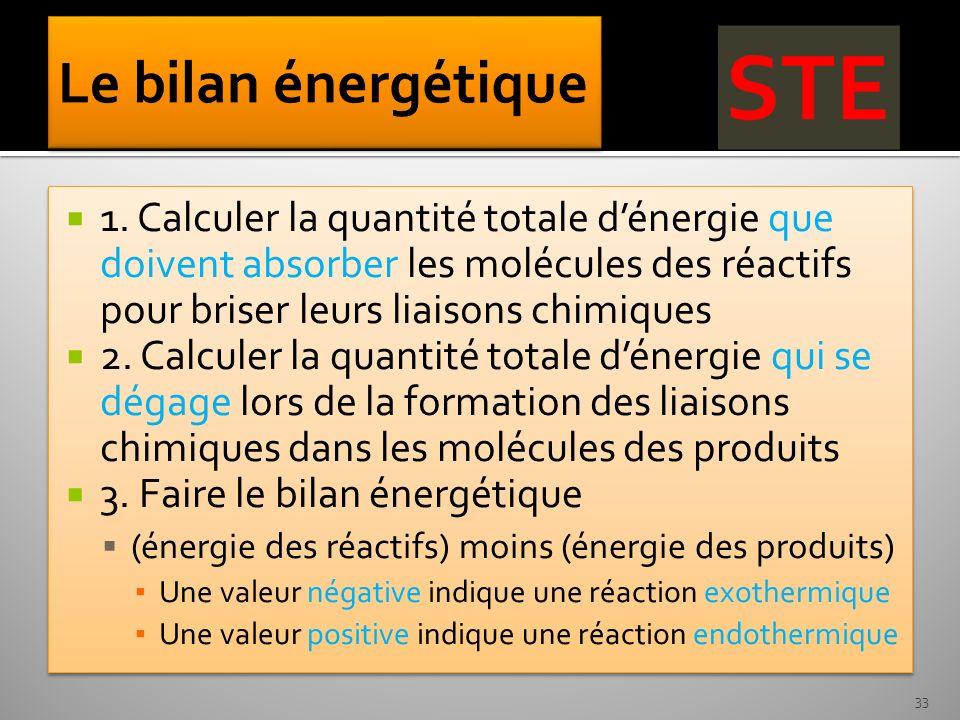 1. Calculer la quantité totale dénergie que doivent absorber les molécules des réactifs pour briser leurs liaisons chimiques 2. Calculer la quantité t