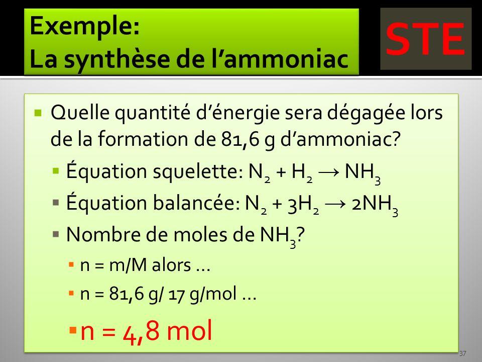 Quelle quantité dénergie sera dégagée lors de la formation de 81,6 g dammoniac? Équation squelette: N 2 + H 2 NH 3 Équation balancée: N 2 + 3H 2 2NH 3