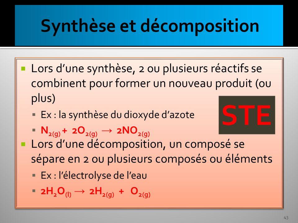 Lors dune synthèse, 2 ou plusieurs réactifs se combinent pour former un nouveau produit (ou plus) Ex : la synthèse du dioxyde dazote N 2(g) + 2O 2(g)
