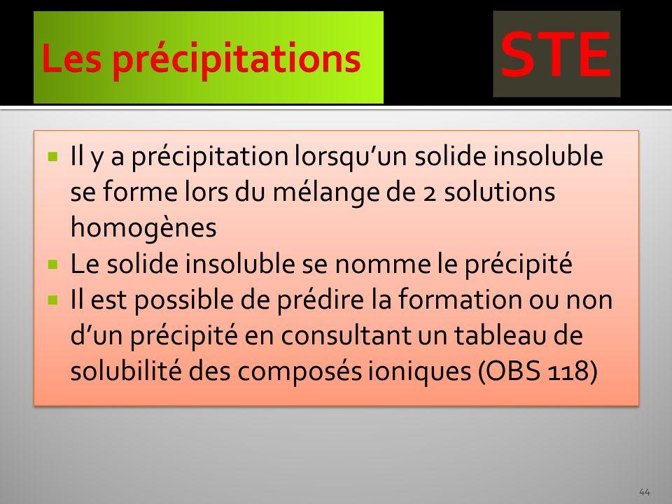 Il y a précipitation lorsquun solide insoluble se forme lors du mélange de 2 solutions homogènes Le solide insoluble se nomme le précipité Il est poss