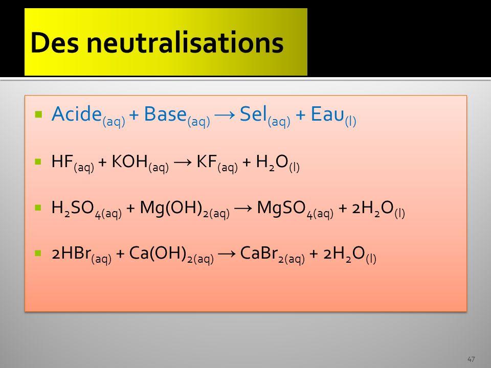 Acide (aq) + Base (aq) Sel (aq) + Eau (l) HF (aq) + KOH (aq) KF (aq) + H 2 O (l) H 2 SO 4(aq) + Mg(OH) 2(aq) MgSO 4(aq) + 2H 2 O (l) 2HBr (aq) + Ca(OH
